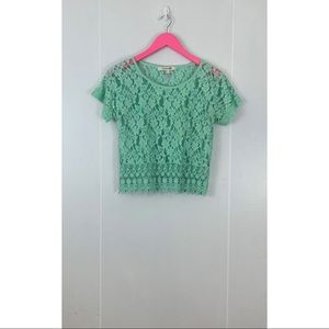 Forever 21 See-Through Lace Mint Crop Top